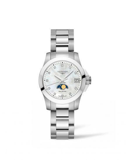 Longines launches a new Conquest with moonphase display, reflecting the brand's sportive elegance