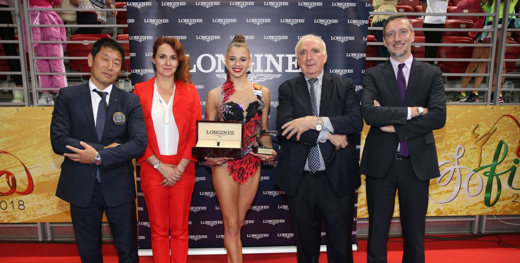 Longines Gymnastics Event: The Longines Prize for Elegance awarded to Aleksandra Soldatova at the 36th Rhythmic Gymnastics World Championships in Sofia
