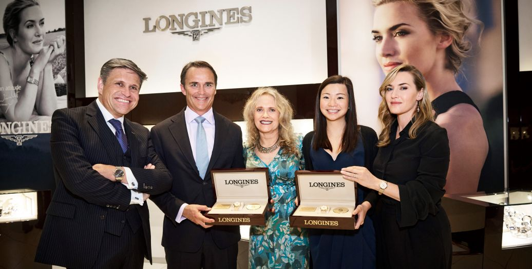 Longines Corporate Event: Longines welcomes its Ambassador of Elegance Kate Winslet in New York for the conclusion of a common charity project for the benefit of the Golden Hat Foundation
