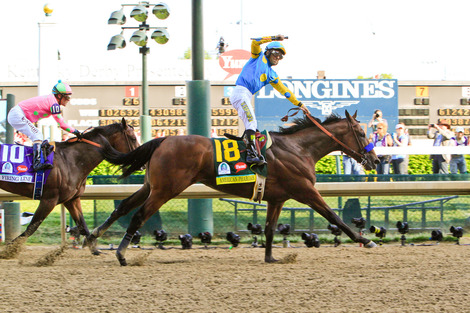 Longines Flat Racing Event: American Pharoah gallops to victory in front of record crowd at the 141st Kentucky Derby