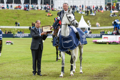 "Longines Show Jumping Event: Hans-Dieter Dreher (GER) is the winner of the ""Longines Grand Prix der Schweiz"" in St. Gallen"