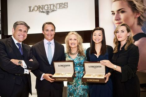 Longines welcomes its Ambassador of Elegance Kate Winslet in New York for the conclusion of a common charity project to benefit the Golden Hat Foundation