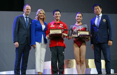 Longines Gymnastics Event: Canada's Brooklyn Moors and Japan's Kenzo Shirai presented with the Longines Prize for Elegance at the 47th Artistic Gymnastics World Championships in Montréal