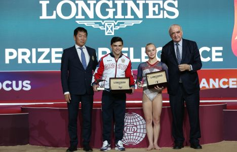 Longines Gymnastics Event: The Longines Prize for Elegance awarded to Russia's Angelina Melnikova and Russia's Artur Dalaloyan at the 48th Artistic Gymnastics World Championships in Doha