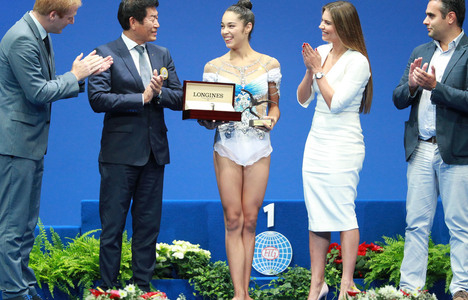 Longines Gymnastics Event: Italy's Alexandra Agiurgiuculese presented with the Longines Prize for Elegance at the 35th Rhythmic Gymnastics World Championships 2017 in Pesaro