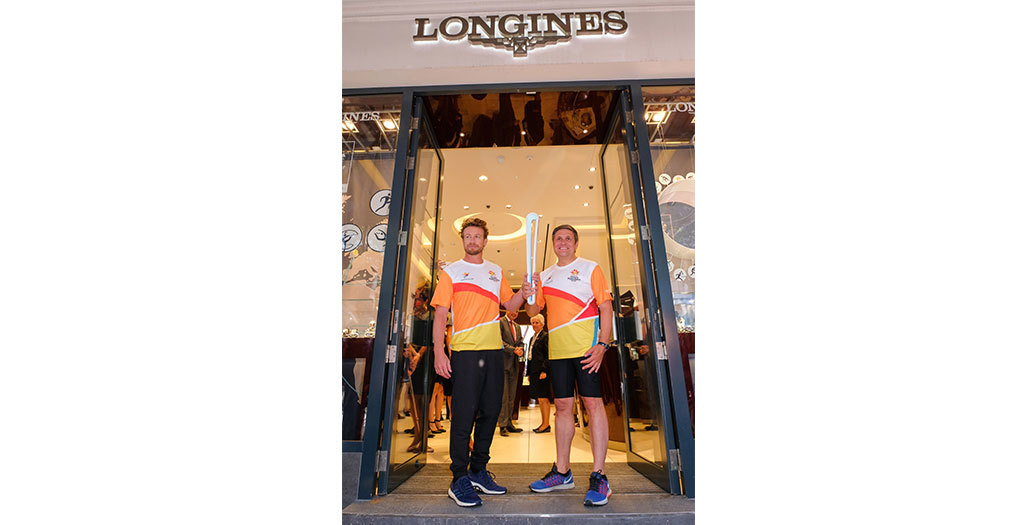 Longines Commonwealth Games Event: Longines Ambassador of Elegance Simon Baker welcomed the 2018 Commonwealth Games Queen's Baton in the Longines Boutique in London