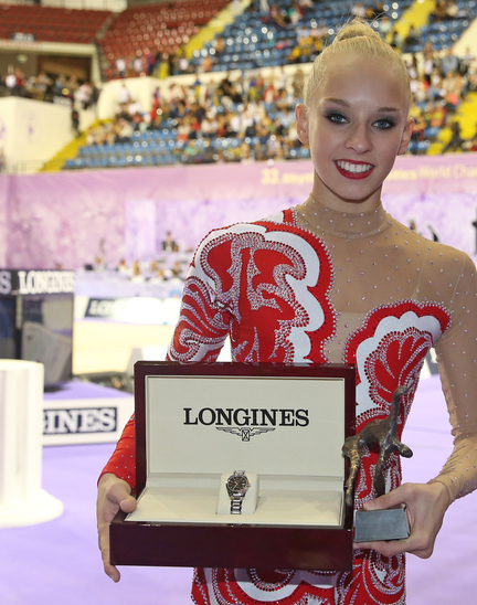 Longines Gymnastics Event: The Longines Prize for Elegance awarded to Yana Kudryavtseva at the 33rd Rhythmic Gymnastics World Championships 2014 in Izmir
