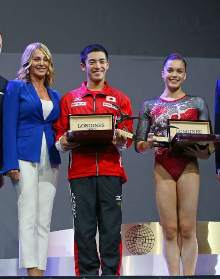 Canada's Brooklyn Moors and Japan's Kenzo Shirai presented with the Longines Prize for Elegance at the 47th Artistic Gymnastics World Championships in Montréal