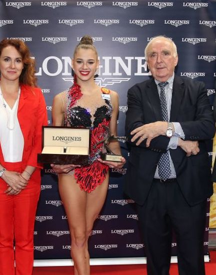The Longines Prize for Elegance awarded to Aleksandra Soldatova at the 36th Rhythmic Gymnastics World Championships in Sofia