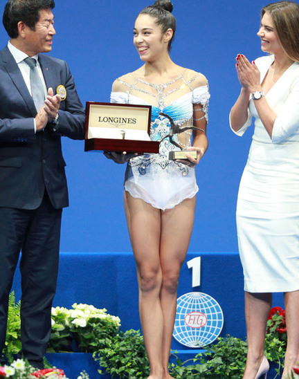 Italy's Alexandra Agiurgiuculese presented with the Longines Prize for Elegance at the 35th Rhythmic Gymnastics World Championships 2017 in Pesaro