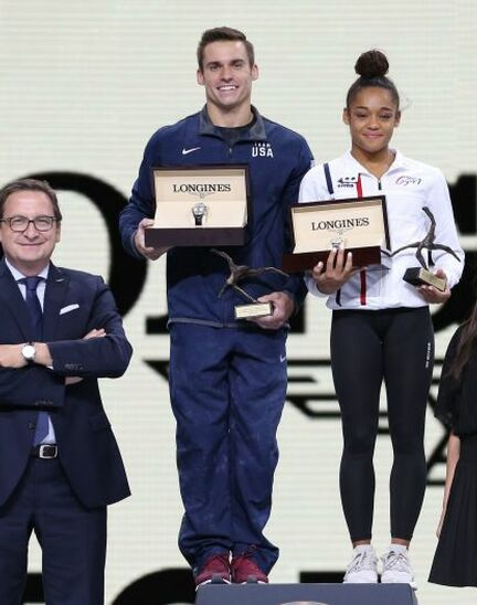 France's Melanie de Jesus dos Santos and USA's Samuel Mikulak were honored with the Longines Prize for Elegance at the 49th Artistic Gymnastics World Championships in Stuttgart