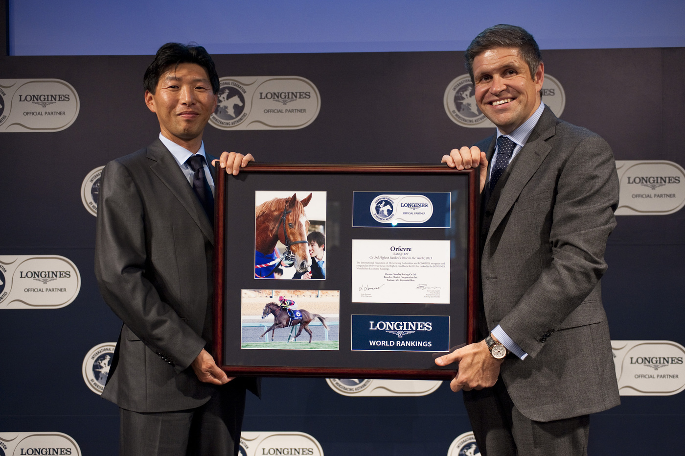 Longines Flat Racing Event: Longines and the International Federation of Horseracing Authorities (IFHA) honoured ORFEVRE as the co-third highest-rated horse in the world for 2013 4
