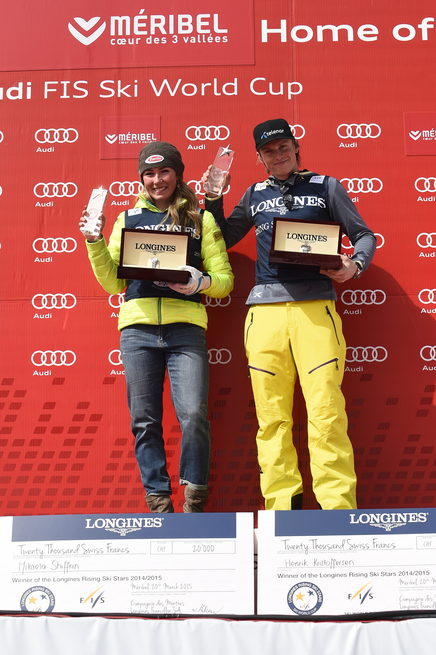 Longines Alpine Skiing Event: Longines awards the Longines Rising Ski Stars Prize to Mikaela Shiffrin and Henrik Kristoffersen 2