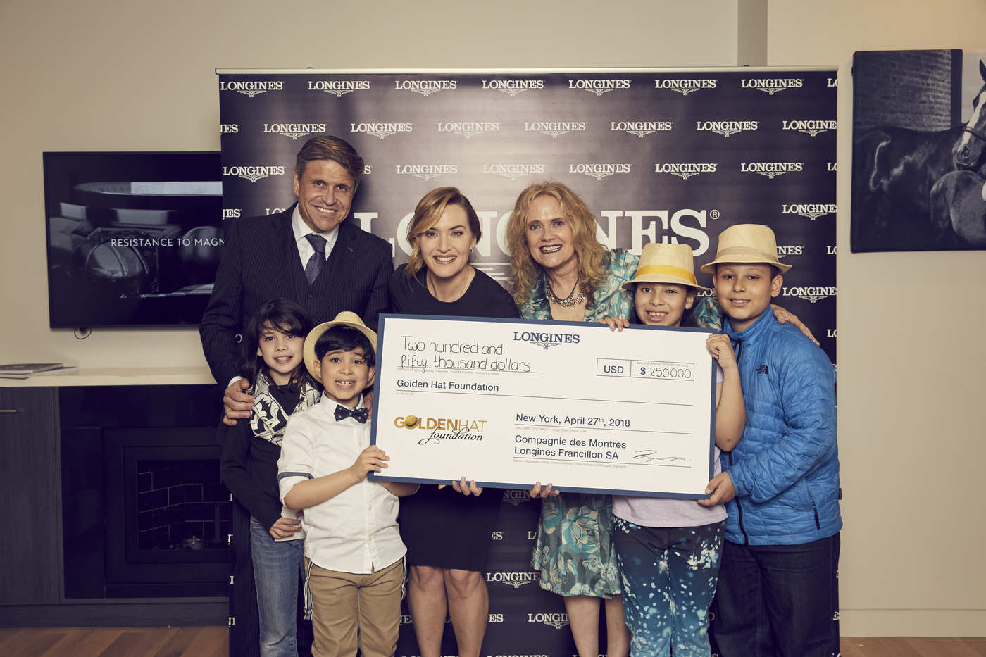 Longines Corporate Event: Longines welcomes its Ambassador of Elegance Kate Winslet in New York for the conclusion of a common charity project for the benefit of the Golden Hat Foundation 3