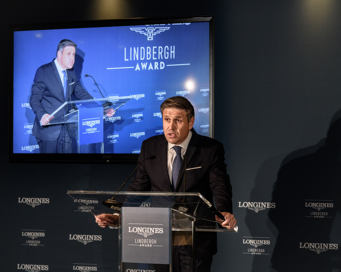 Longines Corporate Event: Erik Lindbergh, Grandson of Famed Aviator Charles Lindbergh, Receives the First Longines Lindbergh Award 3