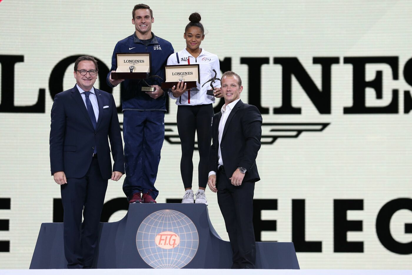 Longines Gymnastics Event: France's Melanie de Jesus dos Santos and USA's Samuel Mikulak were honored with the Longines Prize for Elegance at the 49th Artistic Gymnastics World Championships in Stuttgart 5