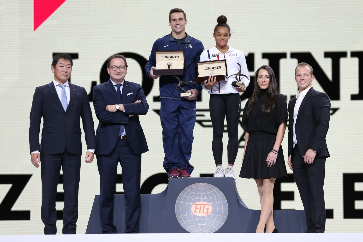 Longines Gymnastics Event: France's Melanie de Jesus dos Santos and USA's Samuel Mikulak were honored with the Longines Prize for Elegance at the 49th Artistic Gymnastics World Championships in Stuttgart 3