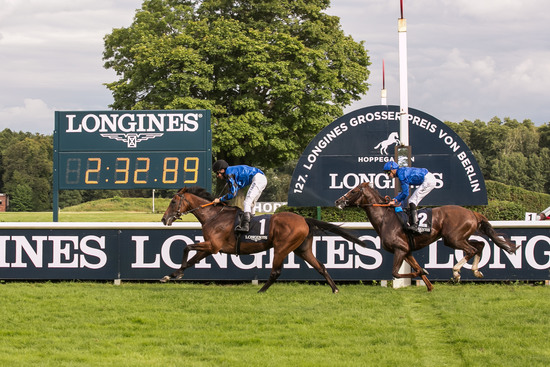 Longines Flat Racing Event: Longines launched its new second screen application during the Longines Grosser Preis von Berlin won by Adrie de Vries riding Dschingis Secret 3