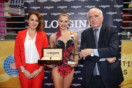Longines Gymnastics Event: The Longines Prize for Elegance awarded to Aleksandra Soldatova at the 36th Rhythmic Gymnastics World Championships in Sofia 2