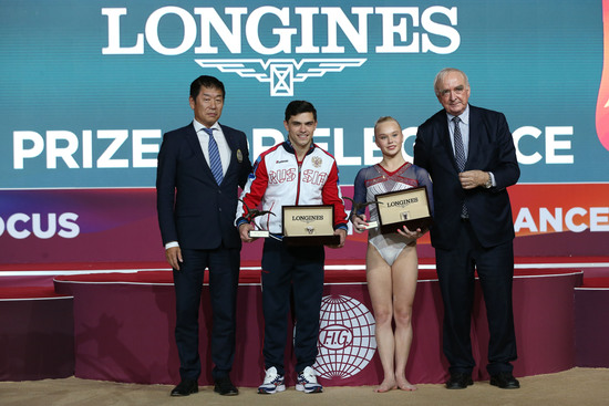 Longines Gymnastics Event: The Longines Prize for Elegance awarded to Russia's Angelina Melnikova and Russia's Artur Dalaloyan at the 48th Artistic Gymnastics World Championships in Doha 3