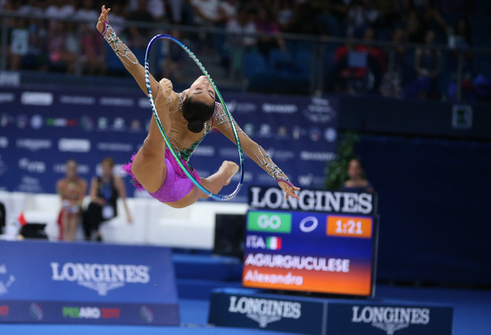 Longines Gymnastics Event: Italy's Alexandra Agiurgiuculese presented with the Longines Prize for Elegance at the 35th Rhythmic Gymnastics World Championships 2017 in Pesaro 2