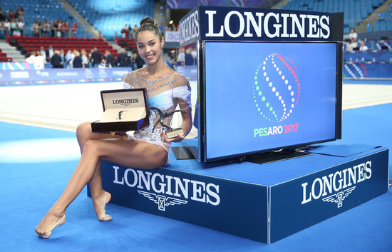 Longines Gymnastics Event: Italy's Alexandra Agiurgiuculese presented with the Longines Prize for Elegance at the 35th Rhythmic Gymnastics World Championships 2017 in Pesaro 3