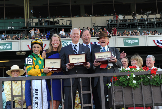 Longines Flat Racing Event: Longines awards elegant timepieces to owner, trainer and jockey of Belmont Stakes winner, Palace Malice 3