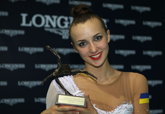 Longines Gymnastics Event: Ukrainian gymnast Ganna Rizatdinova receives the Longines Prize for Elegance in Kiev 1