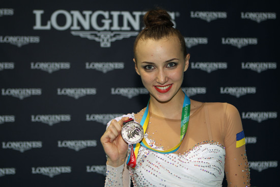 Longines Gymnastics Event: Ukrainian gymnast Ganna Rizatdinova receives the Longines Prize for Elegance in Kiev 5