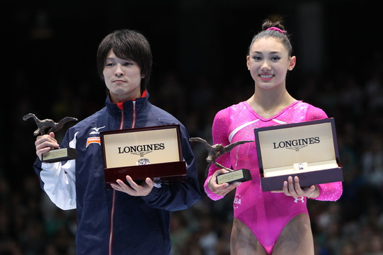 Longines Gymnastics Event: Longines Prize for Elegance awarded to Kyla Ross and Kohei Uchimura at the 44th Artistic Gymnastics World Championships in Antwerp 3